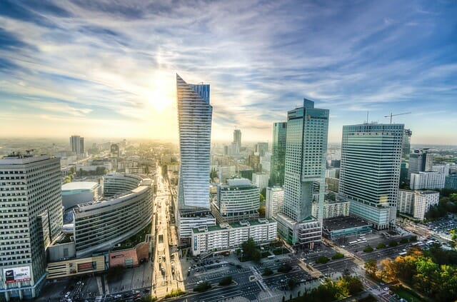 widok Warszawy z góry